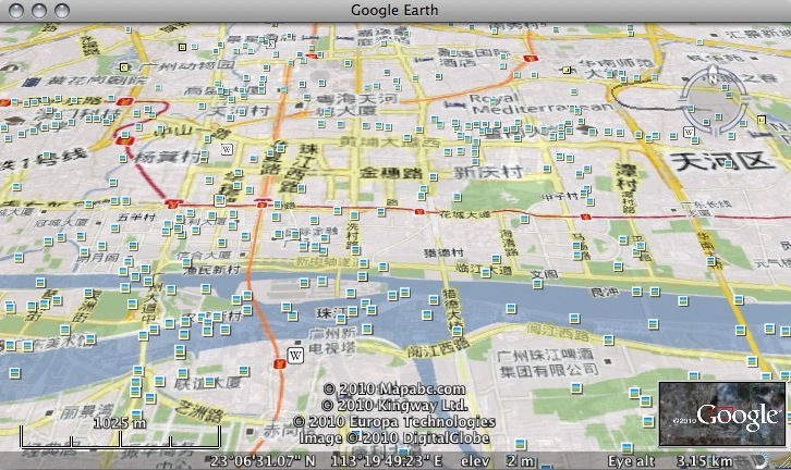 Google Maps China in Google Earth
