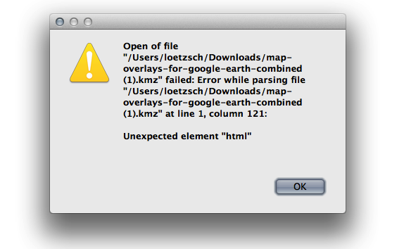 Open of file ... failed: Error while parsing file ... at line 1, column: 121: Unexpected element