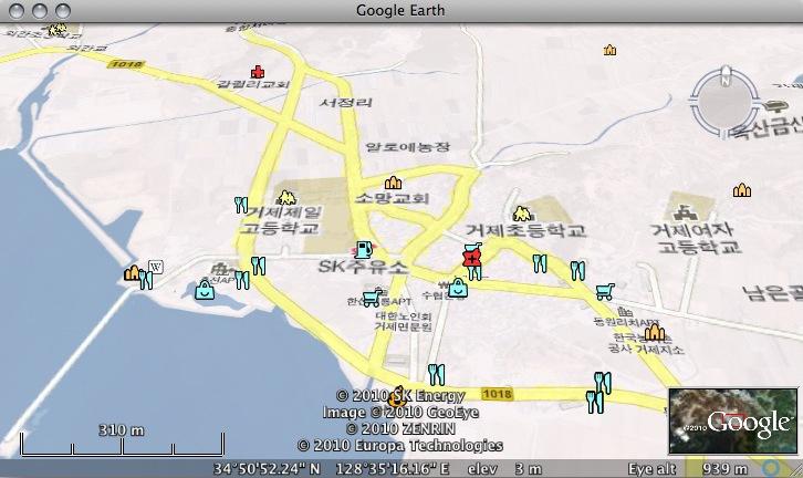 Google Maps Korea in Google Earth on atlas map of korea, printable map of korea, global map of korea, satellite map of korea, satellite view of korea, latitude of korea, political map of korea,
