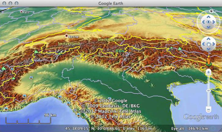MapsForFree Relief in Google Earth
